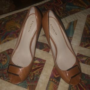 Coach Shoes Wooden Heel  Wedge 7.5B Retail $160
